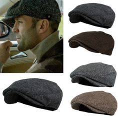 c1b092f5fe0aa Men Herringbone Wool Blend Tweed Newsboy Ivy Gatsby Cabbie Driving Golf Hat  Cap