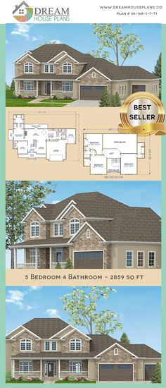 house plan with . - House Plans, Home Plan Designs, Floor Plans and Blueprints Open Floor House Plans, Porch House Plans, Simple House Plans, Dream House Plans, Floor Plans, Unique Architecture, Mobile Home, Plan Design, Great Rooms