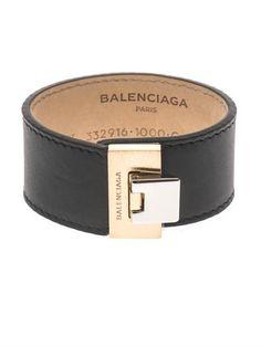 Balenciaga Le Dix charcoal leather bracelet #goopget