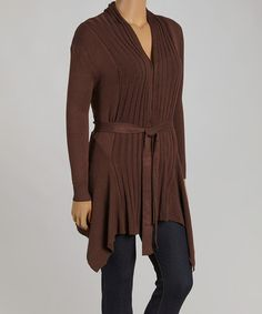 Loving this Brown Ribbed Open Cardigan - Plus on #zulily! #zulilyfinds