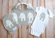 Gender Neutral Baby Gift Set- Bib, Burp & Onesie- Grey and White Elephants- Premier Prints- Bodysuit gift set on Etsy, $30.00