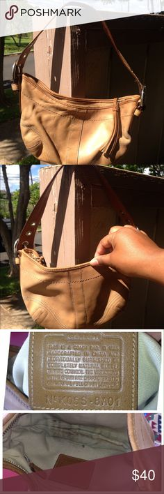 😳LAST CALL COACH leather SOHO HOBO BAG camel 8a01 COACH leather SOHO HOBO BAG camel?  8a01  PreLoved  No dust bag  No swing tag Zipper smooth Liner whole a little dirty   Has water marks and will blend in   Handle adjustable    TOP ZIPPERED TOP WITH LEATHER FRINGED PULL TAB Coach Bags Hobos