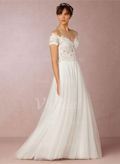 Wedding Dresses - $241.90 - A-Line/Princess Scoop Neck Sweep Train Tulle Wedding Dress With Lace (0025091370)