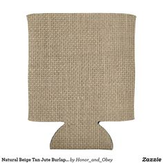 Natural Beige Tan Jute Burlap-Rustic Cabin Wedding Can Cooler