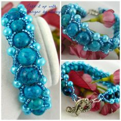 Ocean Teal Jasper Gemstone Aqua Glass Pearl HandBeaded bangle bracelet