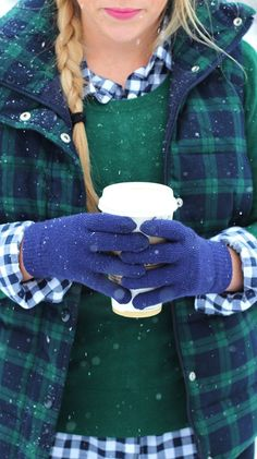 #winter #fashion / Plaid Vest + Green Knit + Checked Shirt