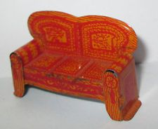 1920's MARX NEWLYWED TIN TOY DOLL HOUSE FURNITURE LIVING ROOM LIBRARY SOFA COUCH
