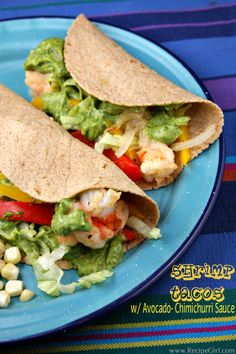 Shrimp Tacos with Avocado Chimichurri Sauce