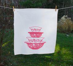 Vintage Inspired Pink Gooseberry Pyrex Tea Towel - Marmalade Mercantile