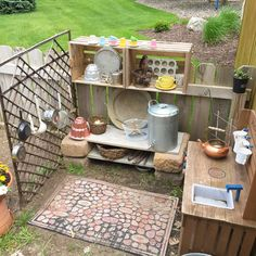 #mudkitchen #ideas #outdoorplay #preschool #homedaycare