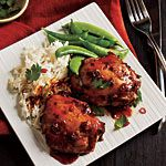 "Asian-Glazed Chicken Thighs Recipe   This was a great recipe. Used ""riced"" cauliflower and stir fried vegetables."