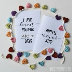 I Have Loved You For This Many Days – Free Valentine or Anniversary Card Printable | The DIY Mommy