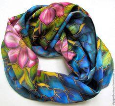 Scarves handmade. Batik scarf 'Clematis'. OlgaPastukhovaArt. My Livemaster.Accessories, silk painting, a gift for February 14