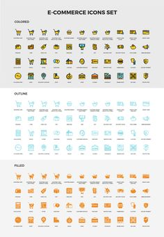 44 icons use for E-commerce in 3 variations: Colored, Filled, Outline Flat Color, Icon Set, Design Trends, Periodic Table, Outline, Ecommerce, Periodic Table Chart, Periotic Table, E Commerce