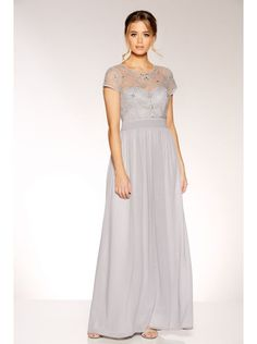 2f9b0457 Grey Chiffon Cap Sleeve Embellished Maxi Dress
