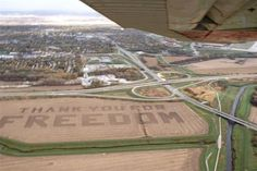 Thank you for freedom!  Flights into Offutt Air Force Base see Patriotic Message