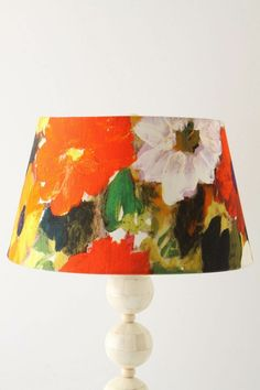 Painted Lamp Shade. Purples and greens