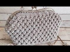 Sternmodell Makramee Clucth Beutelstruktur - My CMS Crochet Clutch Pattern, Crochet Patterns, Crochet Handbags, Crochet Purses, Frame Purse, Basket Bag, T Shirt Yarn, Crochet Videos, Knitted Bags
