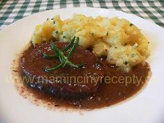 Hovězí na víně Czech Recipes, Ethnic Recipes, Baked Potato, Stew, Mashed Potatoes, Yummy Food, Meat, Baking, Kebabs