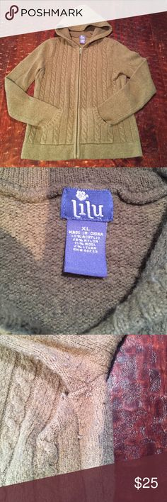XL Lilu Knitted Hoodie This classic knitted hoodie from LiLu is in good condition. It does have pilling, and some fading, which is visible in the pics. This is a very thick sweater that will definitely keep you warm this winter!  Comes from a smoke free/feline friendly home. Any Questions, just ask. Offers welcome. Lilu Tops Sweatshirts & Hoodies