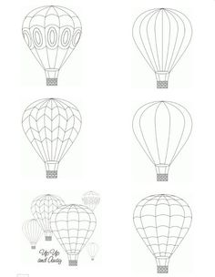 Hot air balloon printable digital images from Birds Cards -- http://www.birdscards.com/
