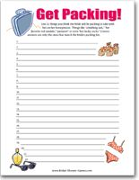 """""""Get Packing!"""" - Honeymoon Packing Checklist Game @Bridal-Shower-Games.com"""