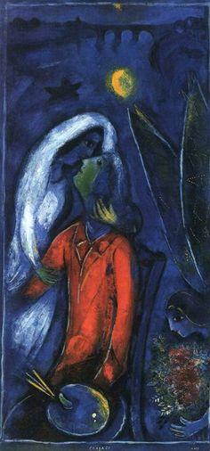 Lovers Near Bridge, Marc Chagall