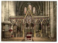 The choir-screen of Hereford Cathedral, England.