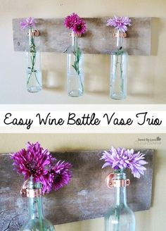 Recycle Wine Bottles into hanging Wall vase with Reclaimed Wood - wall decor, diy flower vase