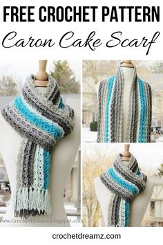 This easy striped scarf free crochet pattern is the perfect piece to add to your wardrobe this winter. The quick tutorial uses one skein of Caron Cakes and simple stitches that any beginner can master. Source by crochet_dreamz scarf One Skein Crochet, Quick Crochet, Crochet Scarves, Crochet Shawl, Crochet Clothes, Crocheted Scarf, Knit Cowl, Caron Cakes Patterns Knit, Caron Cakes Crochet