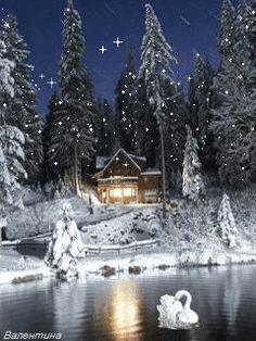 Winter Cottage at Night Christmas Scenery, Christmas Pictures, Christmas Art, Winter Christmas, Holiday, Beautiful Winter Scenes, Beautiful Christmas, Winter Szenen, Winter Drawings
