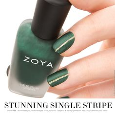 STUNNING SINGLE STRIPE Transform an existing evergreen manicure into an elegant nail look with one easy step - a single stripe of sparkle! Use any of your favorite metallic or glitter shades to instantly amp up your look for the holidays.