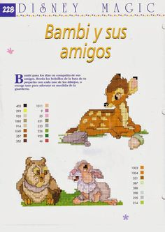 Disney Magic ~ Bambi, Friend Owl and Thumper Bambi Disney, Walt Disney, Disney Magic, Crochet Baby Mobiles, Bambi And Thumper, Disney Cross Stitch Patterns, Baby Bath Time, Christmas Ornament Crafts, Cross Stitching