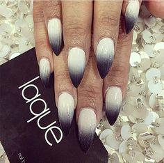Stiletto Black and White Gradient/Ombre Nails