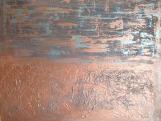 A friend decided to share her work with the world, so I am sharing it too............ More Pennies...Abstract textured painting by BlissStudio28 on Etsy, $375.00