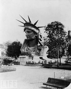 The Head of the Statue of Liberty on display at the World Fair in Paris, 1878.  (The Caledonian Mining Expedition Company: Through the Lens of LIFE)