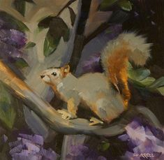 "Daily Paintworks - ""Squirrel Among the Rhodies"" by Sue Harrell"