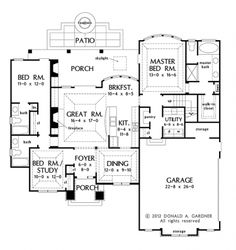 Floor Plans AFLFPW76897 - 1 Story French Country Home with 3 Bedrooms, 3 Bathrooms and 1,715 total Square Feet