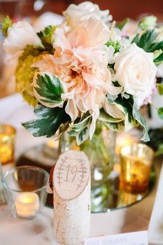 birch table number garden wedding centerpiece