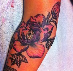 Peonies tattoo from Jon Larson at Depot Town