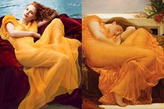 annie leibovitz photography -Jessica Chastain wearing Olivier Theyskens, by Annie Leibovitz for Vogue + Flaming June by Fredrick Lord Leighton