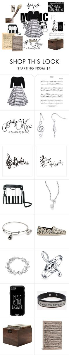 """""""Music is my Escape"""" by icyraindancer on Polyvore featuring Music Notes, BERRICLE, Alex Woo, TOMS, WithChic, Bling Jewelry, Casetify and iCanvas"""