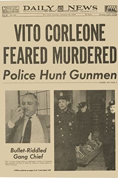 Newspaper Poster Vito Corleone The Godfather Feared Dead Prop forth movie very cool 20 x 30 ** More info could be found at the image url.