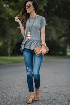 for summer: simple grey ruffle tee + jeans + sandals