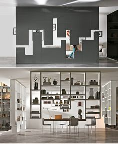 30mm Weightless and 36e8 Weightless by Lago. First time modules use the ceiling as a wall attachment and create an extreme suspension effect. The shelves and containers hang down from the ceiling like stalactites. An elegant and original solution for organizing and dividing a setting is by creating an architecture at the center of the room which on one side is a wall in polished glass (extra-clear glass or lacquered) or lacquered wood) and on the other a bookcase sculpture.