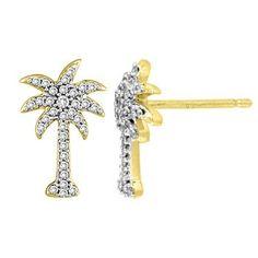 Angara.com: Round Diamond Palm Tree Earrings