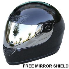 FREE-Mirror-Shield-Gloss-Black-Full-Face-Motorcycle-Helmet-DOT-Size-S-M-L-XL