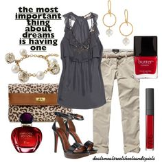 """""""grey & khaki w/ a pop of red"""" by enjoytheview on Polyvore"""