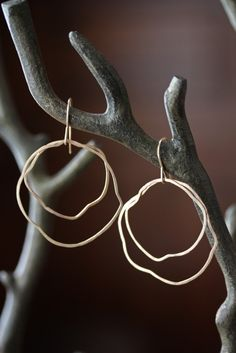 Organic Gold Hoop Earrings 14kt gold hammered simple by LexLuxe, $98.00