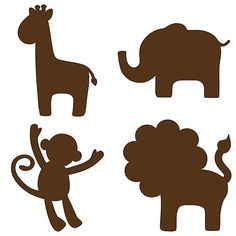 Jungle Silhouettes: monkey, lion, elephant, giraffe.